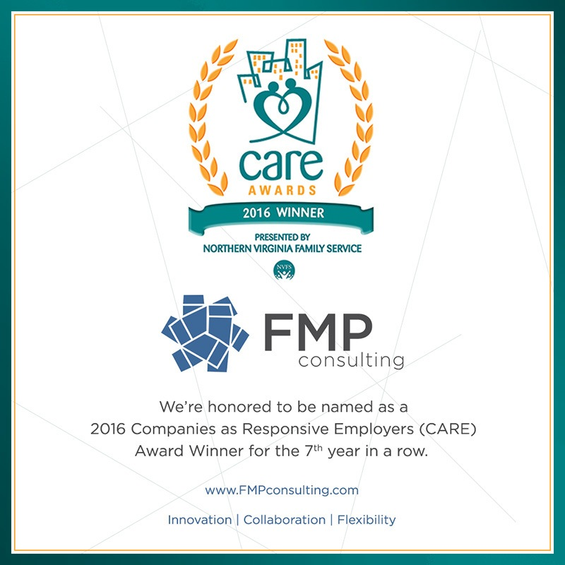 Graphic showing the CARE Award logo and FMP's award information
