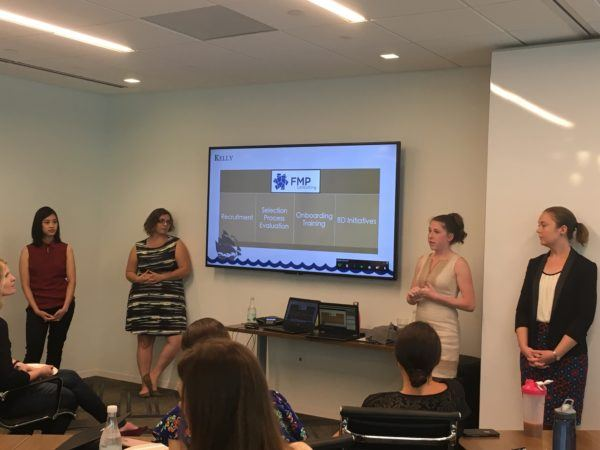 Photo of interns presenting to FMP employees