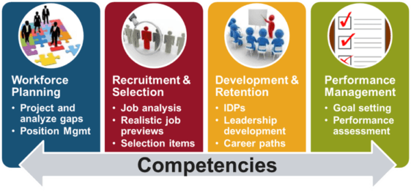 Complex graphic related to competency modeling; please contact news@fmpconsulting.com for more information