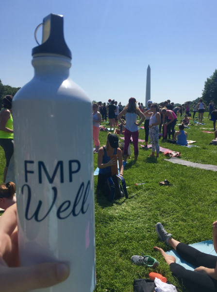 Photo of an FMP-branded water bottle