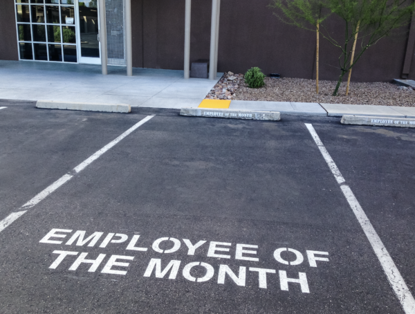 """Photo of generic """"employee of the month"""" parking spot"""