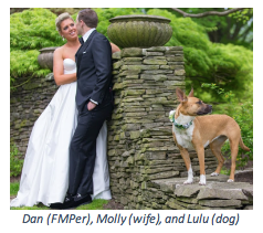 FMP Employee Dan Ohmott with his wife and dog