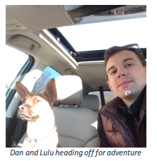 Dan with his dog on a roadtrip