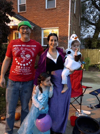 Image of FMP Employee, Maggie, and her family dressed up for Halloween.
