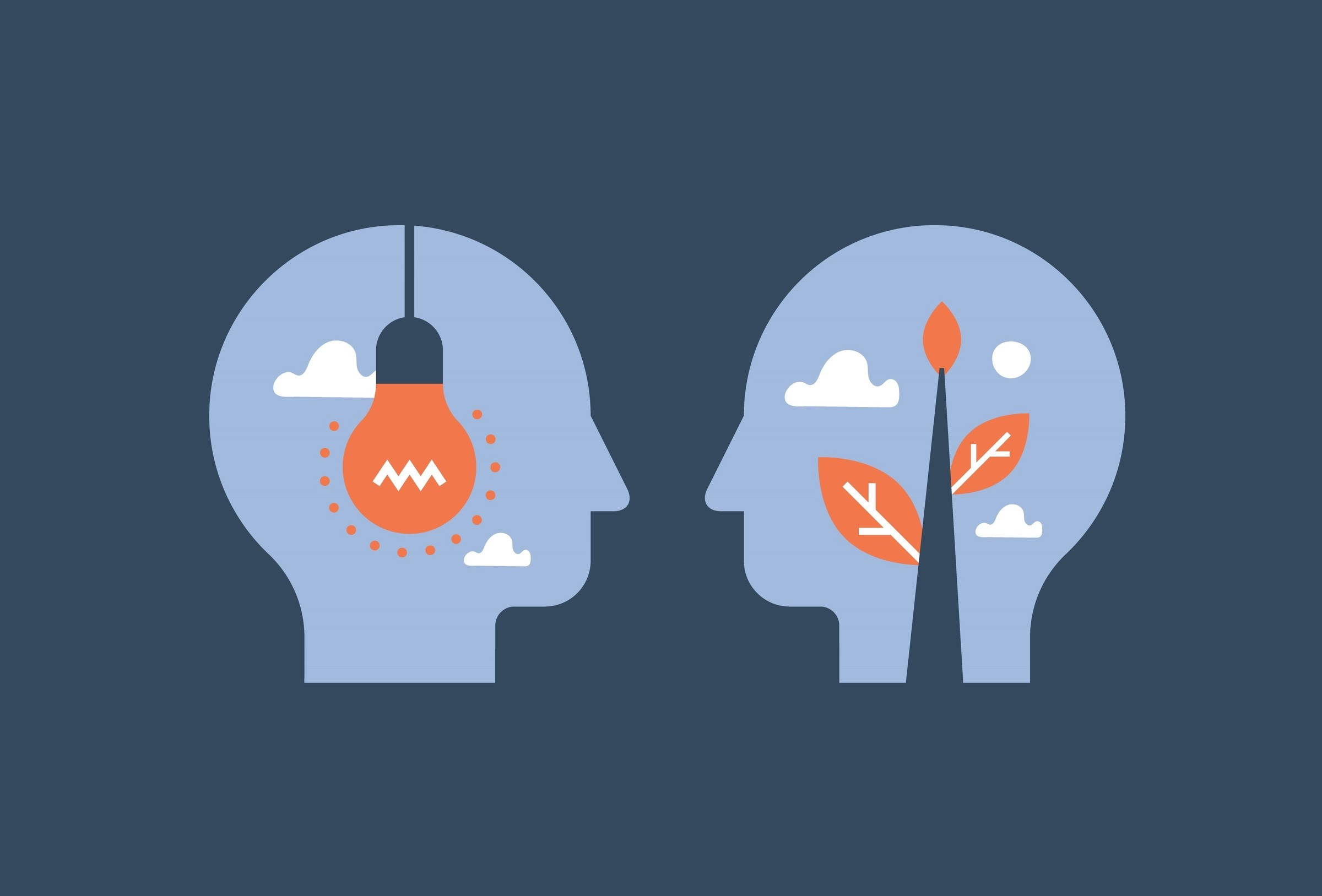 Mentorship concept, guidance and leadership, empathy and communication, face to face heads, negotiation and persuasion, common ground, emotional intelligence, vector flat illustration