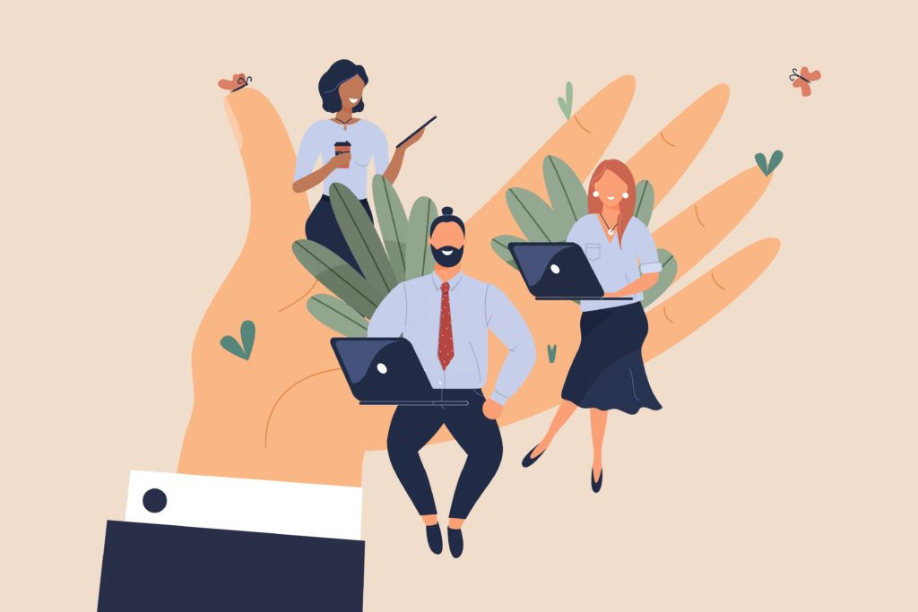 Illustration of tiny office workers sitting on huge hand. Concept of good comfortable environment at work, favorable psychological climate,high pay and freedom of creativity for employees.